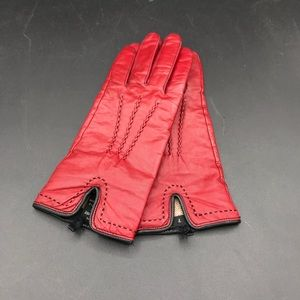 Red leather and cashmere gloves